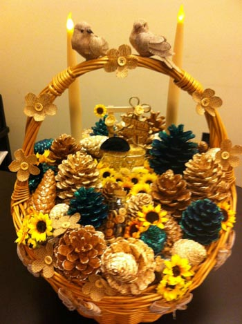 handcrafted pine cone baskets